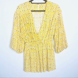 Free People Floral Yellow V-neck Tunic
